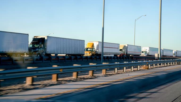 trucks crossing border
