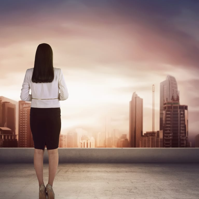 woman looking skyline