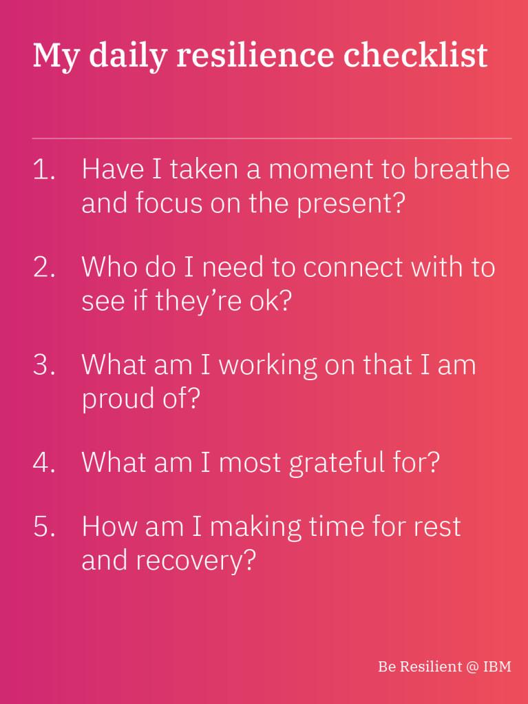 My daily resilence checklist
