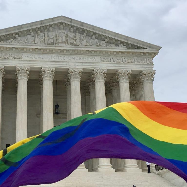 court with rainbow flag