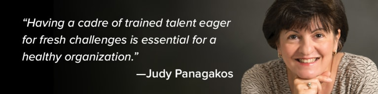 """A quote with a woman, Judy Panagakos, which reads """"""""Having a cadre of trained talent eager for fresh challenges is essential"""""""