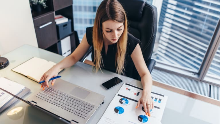 woman working with data