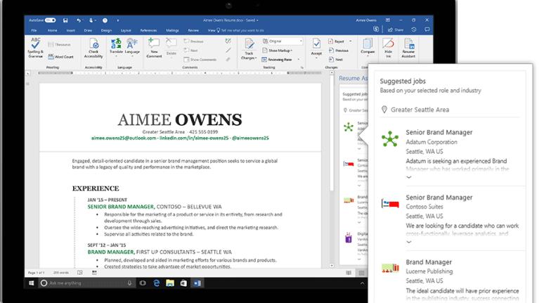 New Microsoft Word Resume Tool Recommends LinkedIn Job Postings