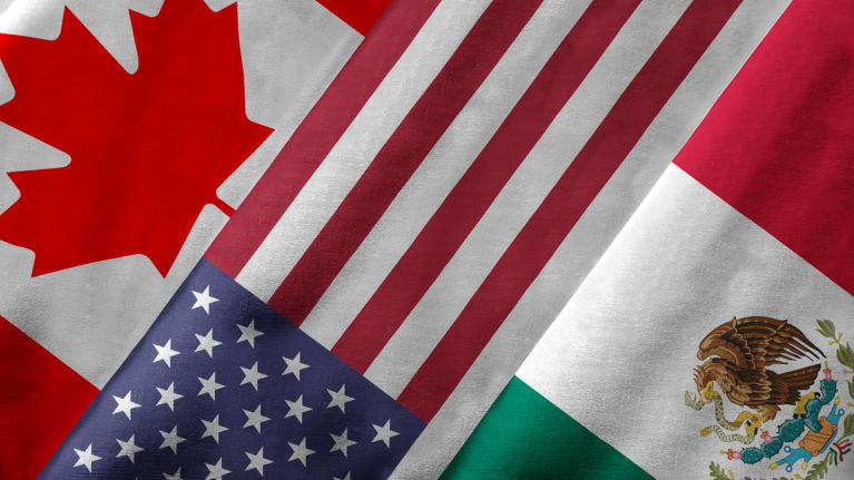 Canadian, U.S. and Mexican flags