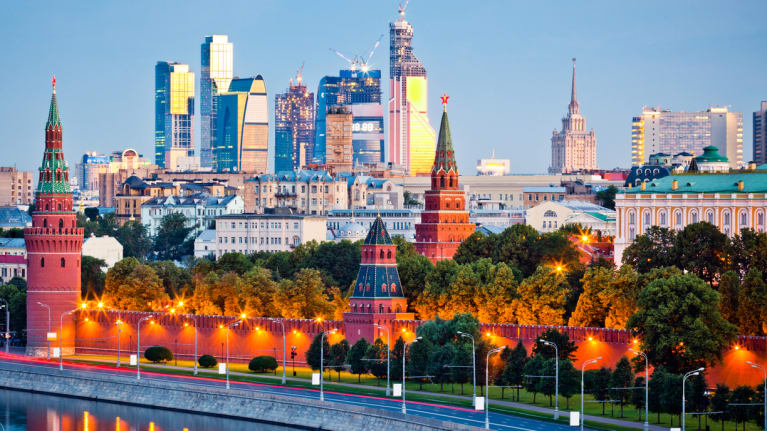 The Kremlin with Moscow's downtown in the background