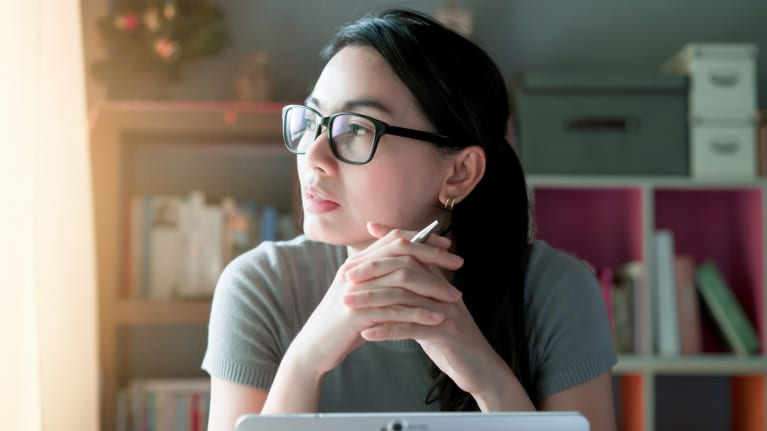 Asian woman working remotely