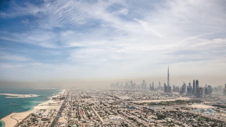Dubai skyline from a distance