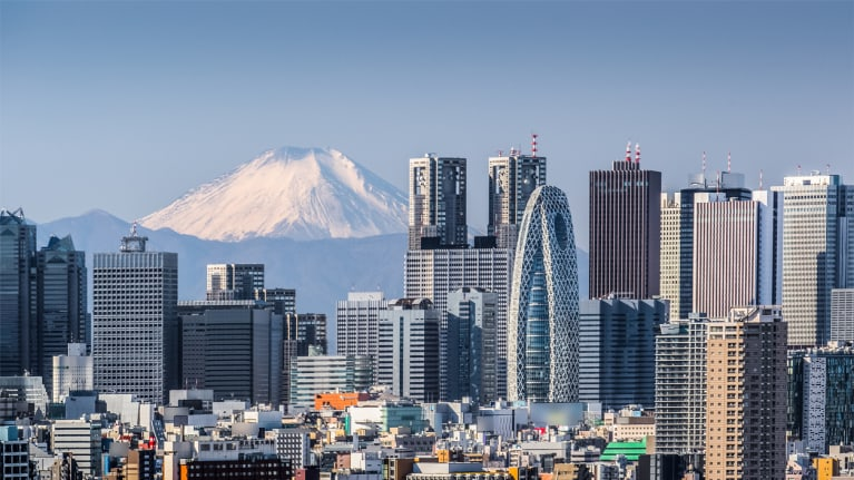 Tokyo with Mt. Fuji in the background