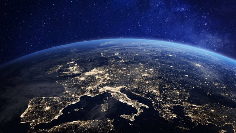 view of Europe at night from space