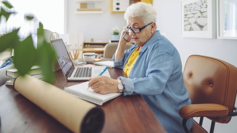 older woman working from home