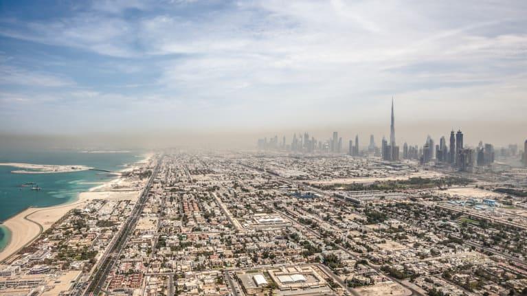Dubai skyline at a distance