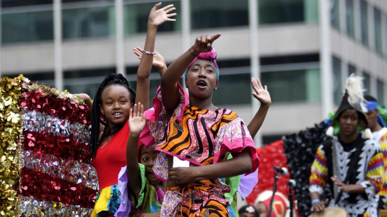 Children in a Juneteenth parade in Philadelphia, 2019