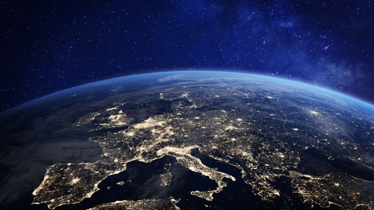 Europe viewed from outerspace at night illuminated by city lights