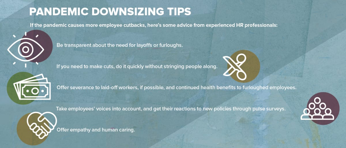 Pandemic Downsizing Tips. If the pandemic causes more employee cutbacks, here's some advice from experienced HR professionals: Be transparent about the need for layoffs or furloughs.If you need to make cuts, do it quickly without stringing people along.Offer severance to laid-off workers, if possible, and continued health benefits to furloughed employees.Take employees' voices into account, and get their reactions to new policies through pulse surveys.Offer empathy and human caring.