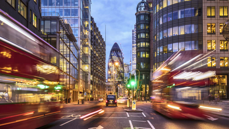 London business district and street scene