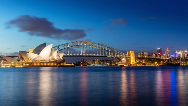 Evening view of Sydney opera houses and Sydney