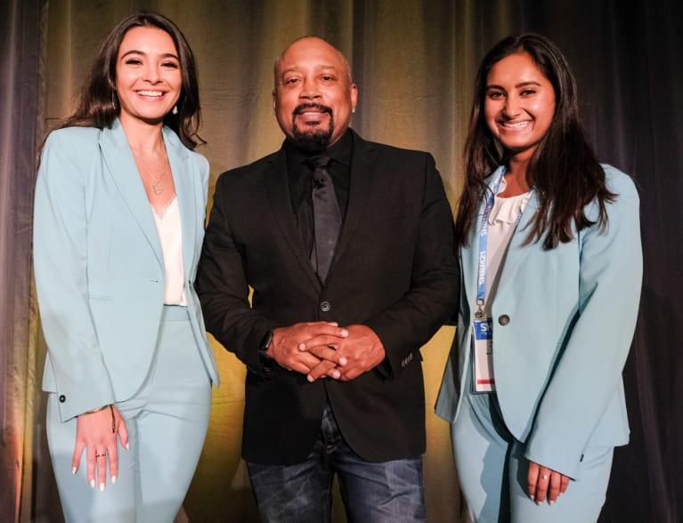 """From left, Symba CEO Ahva Sadeghi, Daymond John, star of ABC's """"Shark Tank,"""" and Symba CTO Nikita Gupta after the final pitch se"""