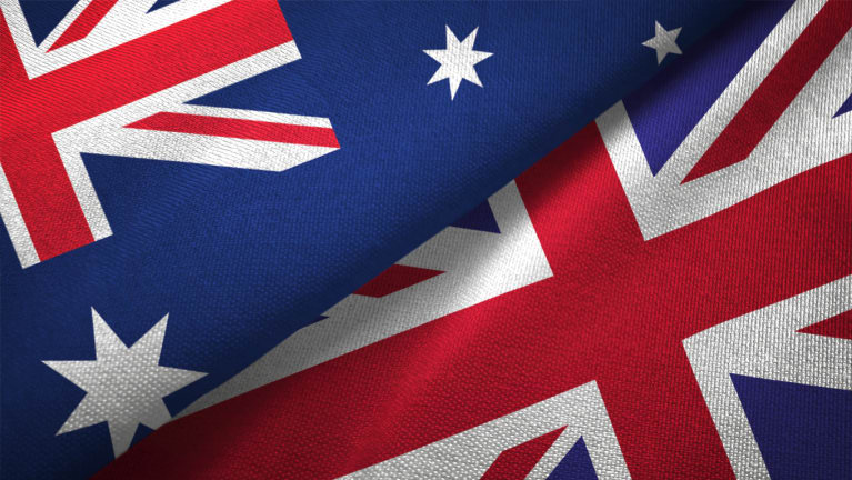 Australian and U.K. flags next to each other