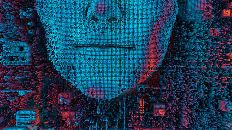 artificial intelligence graphic with computerized image of a face