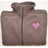 Women's Brown Fleece Pull Zip with Heart-Shaped I Love HR Logo