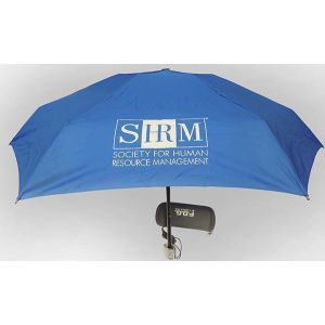Royal Blue Long Fog Compact Umbrella with SHRM Logo
