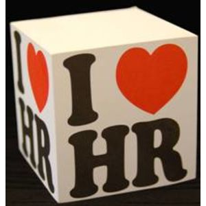"Sticky Note Cube with ""I Love HR"" Logo"