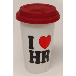Double Wall 11 oz. Ceramic Tumbler w/ Classic I Love HR Logo - Red Silicone Lid
