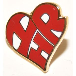 "Heart-Shaped ""I Love HR"" Lapel Pin"