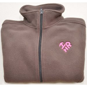 Women's Brown Fleece Pull Zip with Heart-Shaped I Love HR Logo