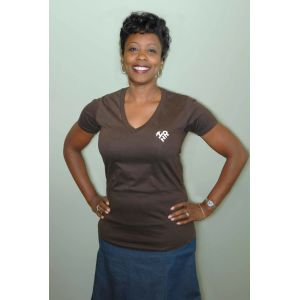 Brown Short Sleeve shirt with Heart Shape I Love HR - Women's