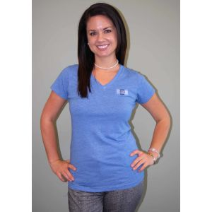 Women's Heathered Blue SHRM Logo shirt