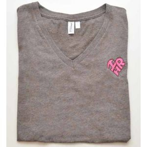 Women's Heather Brown Junior T-shirt with I Love HR Logo