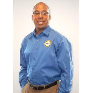 Men's Moonlight Blue Button Down Shirt with SHRM-CP Logo
