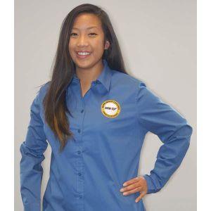 Women's Moonlight Blue Button Down Shirt with SHRM-SCP Logo