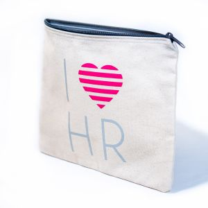 I Love HR Fashion Cosmetic Bag in Cream