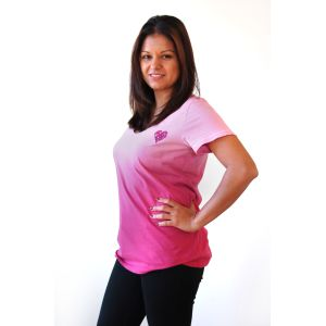 Pink Rounded Neck Dip Dye T-Shirt with Heart Shaped Logo