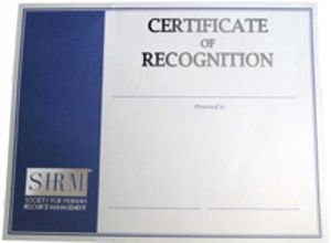 SHRM Certificate of Recognition