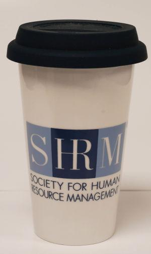 Double Wall 11 oz. Ceramic Tumbler w/ SHRM Logo -- Blue Silicone Lid