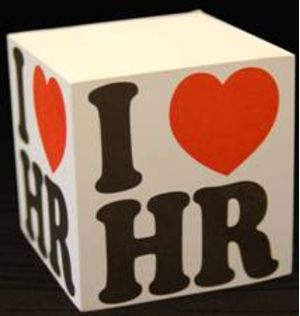 """Sticky Note Cube with """"I Love HR"""" Logo"""