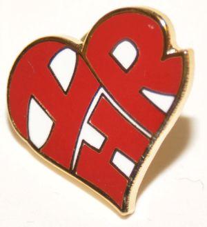 "Heart-Shaped ""I Love HR"" Lapel Pin"