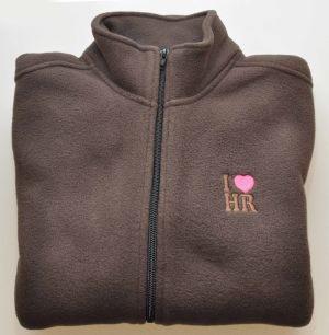 Ladies Brown Fleece Pull-Zip w/ I Love HR