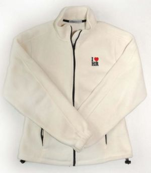 "Ladies Cream Fleece Jacket with ""I Love HR"""
