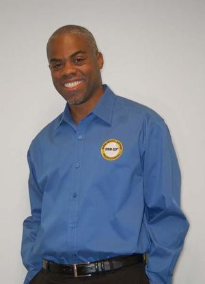 Men's Moonlight Blue Button Down Shirt with SHRM-SCP Logo