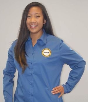 Women's Moonlight Blue Button Down Shirt with SHRM-SCP Logo