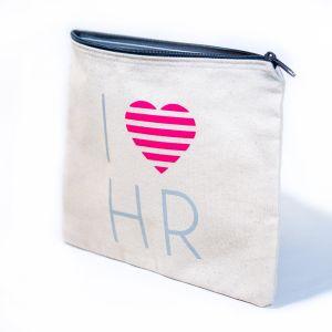I Love HR Fashion Cosmetic Bag in Cream